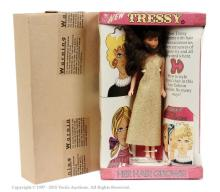 Palitoy Tressy Doll - wearing gold dress. There