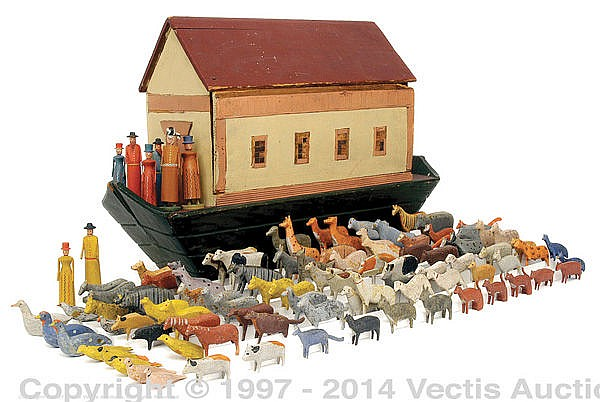 Noah's Ark Wooden And 90+ Figures German Circa