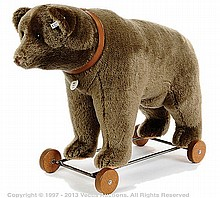 Steiff Bear on Wheels replica 1921, 2003, white