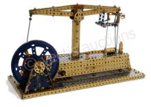 Meccano blue and gold beam engine model