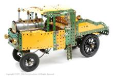 Meccano model of Sentinel Steam Wagon in yellow