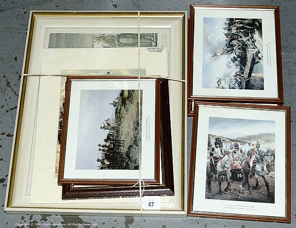 Military Prints - Napoleonic Wars, 5 x Framed