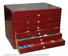 Meccano Post War red/green parts in a 6-drawer