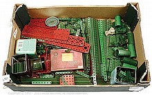 QTY inc Meccano assorted red/green Parts braced