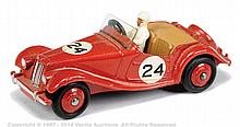 Dinky No.108 MG Midget - red body, ridged hubs