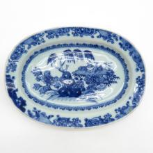 Small Blue and White Willow Decor Platter Circa 1800