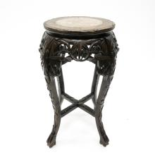 A Fine Chinese Carved Side Table with Marble Insert