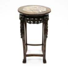 Chinese Carved Side Table with Marble Insert