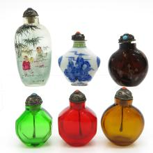 Lot of 6 Chinese Snuff Bottles