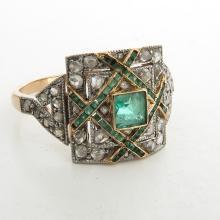 18KG Ladies Art Deco Emerald & Diamond Ring