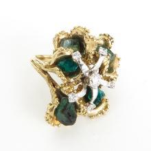 18KG Ladies Emerald and Diamond Ring