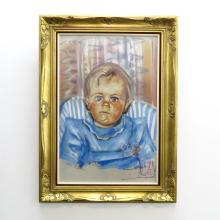 Signed Pastel Portrait of Baby