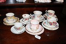 Assortment of cups and saucers to include Royal