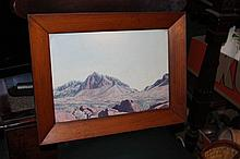 Namatjira framed coloured print, mounted in