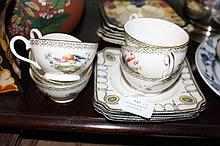 Royal Doulton cups with exotic birds and three