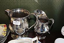 Two silver plate water jugs