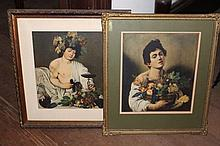 Two old coloured prints of ladies with fruit (2)