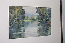 G.W Hurst watercolour river scene