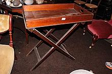 Rare Antique colonial cedar butlers tray on stand, mid 19th