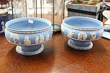 Pair of Wegdwood blue jasper comports
