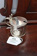 Antique sterling silver drum mustard pot, with