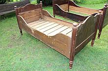 Antique pine Child's sleigh bed