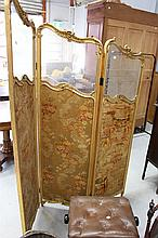 Antique 19th century French gilt framed three fold screen