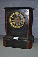 Antique black slate and brown marble mantel clock,