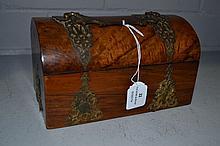 Antique Walnut box with metal work, no key, approx