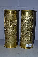 Pair of WWI French trench art brass vases, one