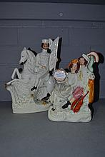 Two Antique Staffordshire flat back figures,