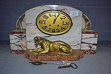 Art Deco marble clock with bronze tiger, has key