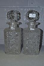 Pair of antique glass decanters, each approx 28cm