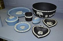 Collection of Wedgwood black and blue jasper items