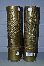 Pair of French WWI brass trench art vases, one