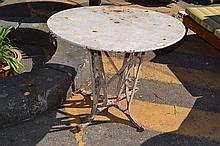 Antique French metal garden table, approx 72cm H x