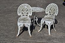 Three piece aluminium garden setting
