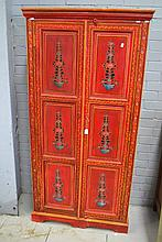 Red painted cabinet, approx 185cm H x 92cm W x