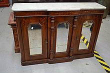 Victorian mahogany side cabinet, three mirror
