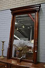Late Victorian large wooden mirror, approx 184cm H