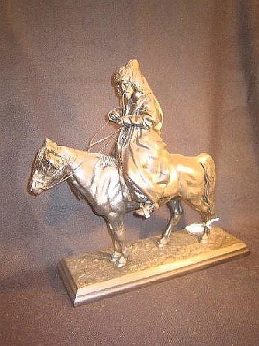 Cast iron sculpture Kirgiz rider sculptor ARTEMILY