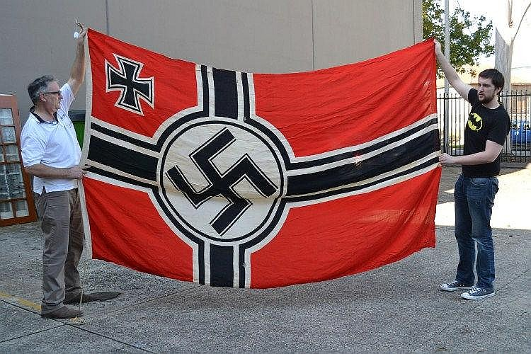 Large WWII Nazi flag, marked