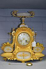 Antique French alabaster and gilt metal mantle
