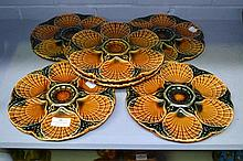 Set of six Sarreguemines Majolica Oyster plates,