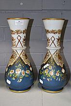Pair of French milk glass and enamelled vases,