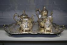 impressive silver plate tea and coffee service,