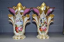Two antique French marriage vases, approx 27cm H