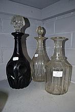 Three Georgian decanters, one amethyst (3)