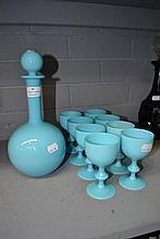 1970s Portuguese Casa Pupo blue glass decanter and