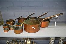 Set of ten antique French copper saucepans (10)